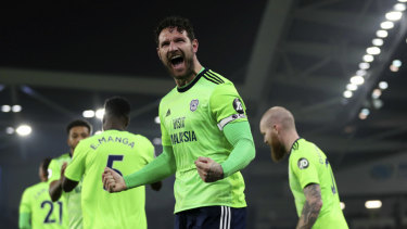 Sean Morrison celebrates his goal for Cardiff.