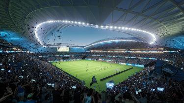 Inside the new stadium.