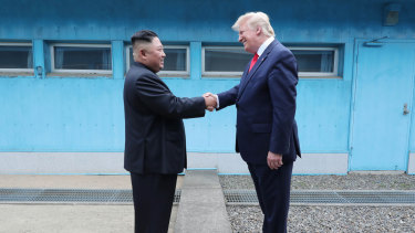 Kim Jong-un and Donald Trump met in the demilitarised zone earlier this year.