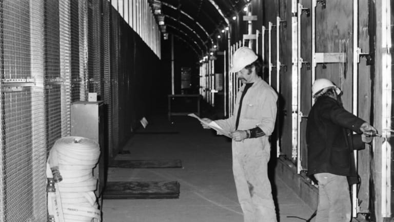 Workers at the new Flagstaff Station, 1981.