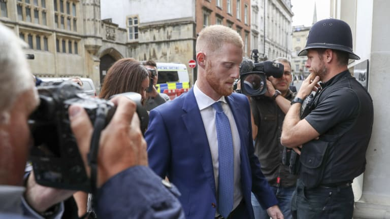 England cricketer Ben Stokes arrives at Bristol Crown Court.