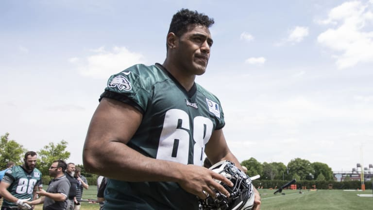 Turning heads: Philadelphia Eagles' Australian offensive lineman Jordan Mailata.