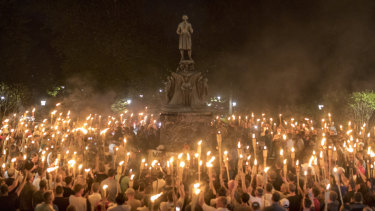 Nazis and white supremacists rally on the grounds of the University of Virginia in Charlottesville, August 11, 2017.