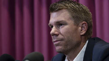 Former Australian cricket vice-captain David Warner fronts the media at Moore Park .