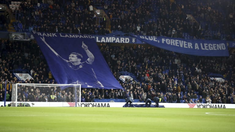Tribute: Chelsea fans still have plenty of time for their former star, Derby County manager Frank Lampard.