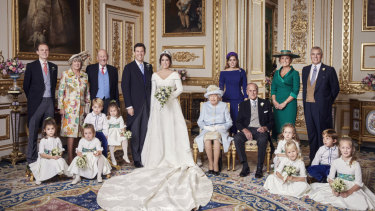 Princess Eugenie and Jack Brooksbank's official family wedding photograph in the White Drawing Room at Windsor Castle.