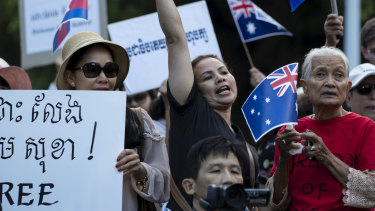 Cambodians rally to protest human rights abuses in their homeland during the Sydney visit of Cambodian Prime Minister Hun Sen in March 2018.