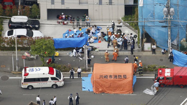 This aerial photo shows the scene of an attack in Kawasaki, near Tokyo.