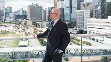 Edward Farrelly looks out over Hong Kong's Central and Admiralty district.