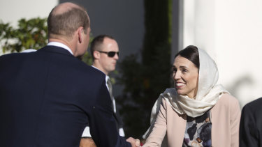 Prince William shakes hands with New Zealand Prime Minister Jacinda Ardern during a visit to the Al Noor mosque in Christchurch on Friday.