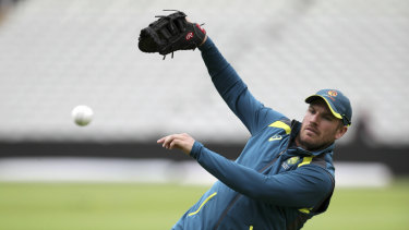 Australian captain Aaron Finch preparing for tonight's match.
