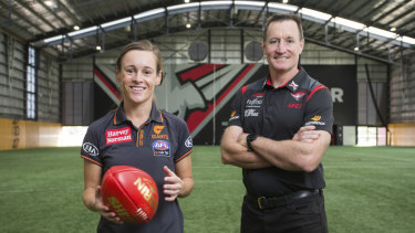 Alicia Eva has won the women's AFL coaching scholarship and will be mentored by Essendon coach John Worsfold.