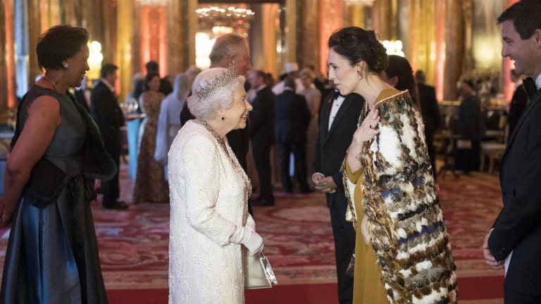 Queen Elizabeth greets a pregnant Jacinda Ardern at Buckingham Palace during  Commonwealth heads of government dinner in London in April.
