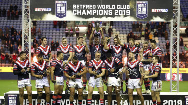 Triumphant: The Roosters have equalled Wigan's record of four WCC titles.