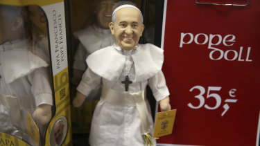 Limited edition Pope dolls for sale during the World Meeting of Families at the RDS in Dublin, Ireland.