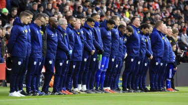 Cardiff City players observed a minute's silence in tribute to Emiliano Sala before the match against Southampton.