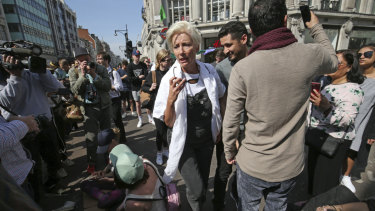 Actress Emma Thompson joins demonstrators causing disruption at the major road junction Oxford Circus in central London.