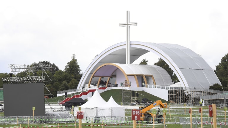 Preparations in readiness for the closing mass for the World Meeting of Families event at Phoenix Park in Dublin which will be attended by Pope Francis as part of his two-day visit to Ireland.