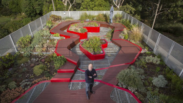 Associate Professor Nicholas Williams on a green roof at the Burnley Campus of University of Melbourne.