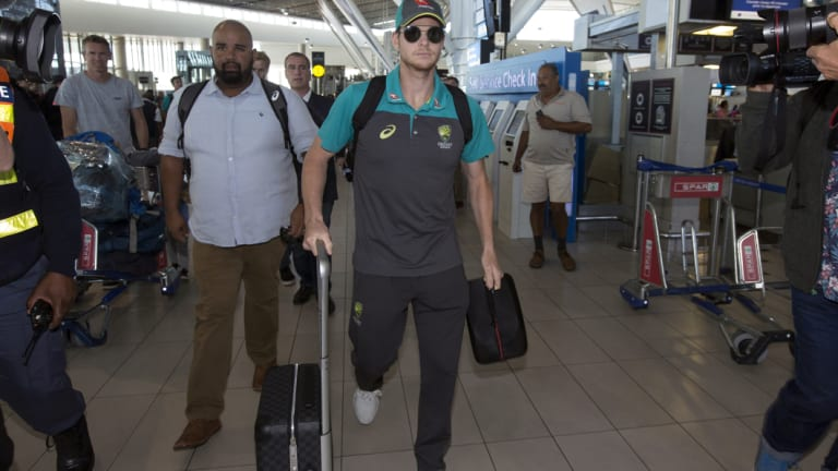 Steve Smith heads home after the ball-tampering scandal.