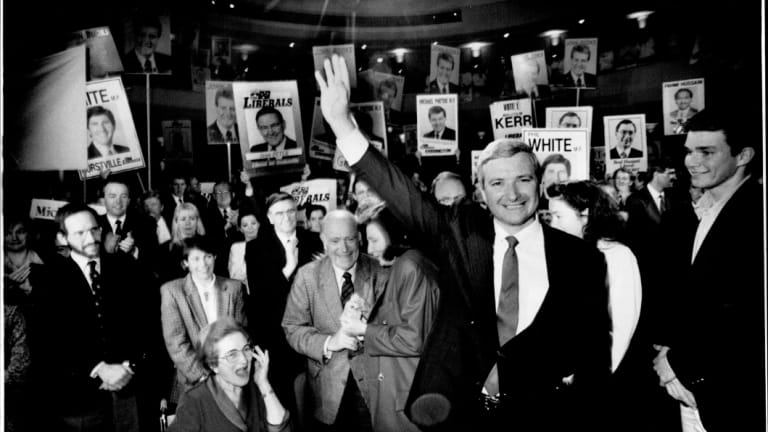Nick Greiner at a Liberal Party launch in 1988.