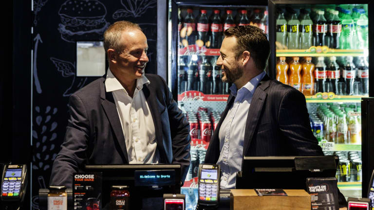 Craveable chairman Rob Coombe and chief executive Brett Houldin at Oporto in Sydney's Circular Quay.