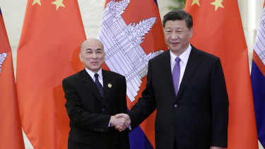 Cambodia's King Norodom Sihamoni meets Chinese Preisdent Xi Jinping in May.