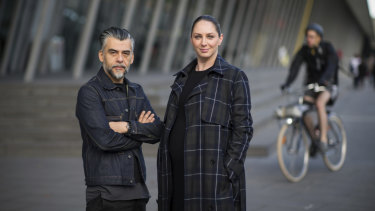 DENFAIR co-founder Claudio Oyarce and Melbourne Art Foundation CEO and director Maree Di Pasquale outside the Melbourne Convention and Exhibition Centre.
