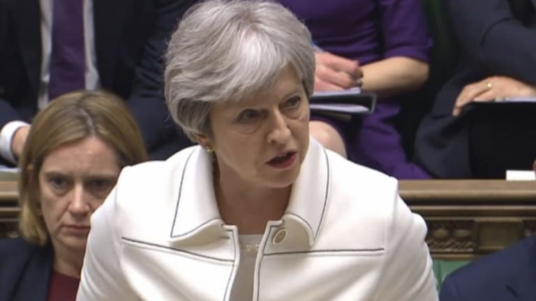 Britain's Prime Minister Theresa May makes a statement on the Syria strikes in the House of Commons in London on Monday.