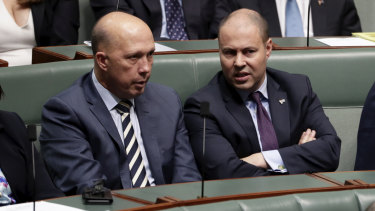 GetUp was unable to defend its assertion that Josh Frydenberg (right) was involved in the 2018 leadership challenge mounted by Peter Dutton (left).