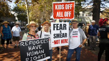 Refugee advocates take to the streets in  Wollongong.
