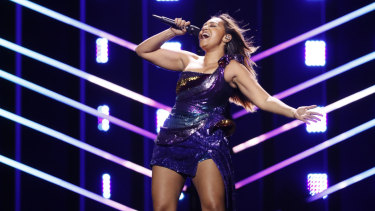 Jessica Mauboy on the Eurovision stage.