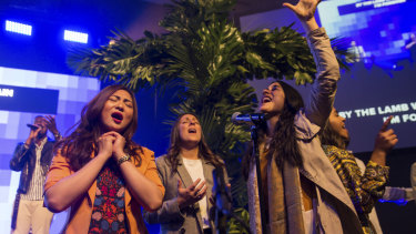 Christian Hillsong worshippers celebrated Easter mass their own way at the Grand Hyatt Hotel in Melbourne.