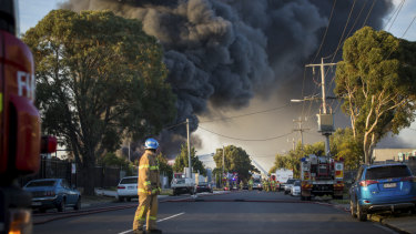Factory fire on Thornycroft Road in Campbellfield.