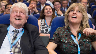 """Boris Johnson's father, Stanley (left) and sister, Rachel, at the Conservative Party conference last year. """"I believe Boris is probably the one person capable of sorting out the Brexit mess,"""" his father said."""
