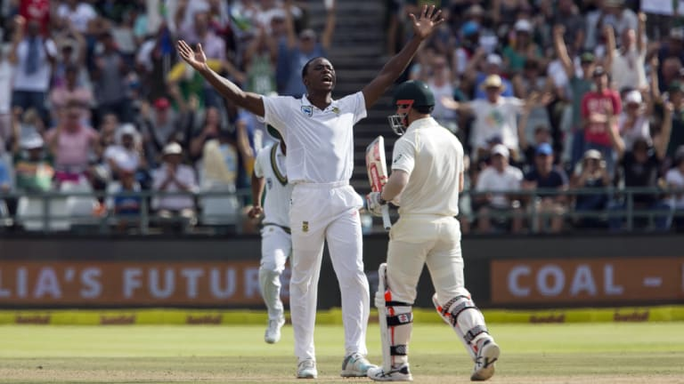 Kagiso Rabada celebrates the wicket of David Warner on the fourth day of the Third test