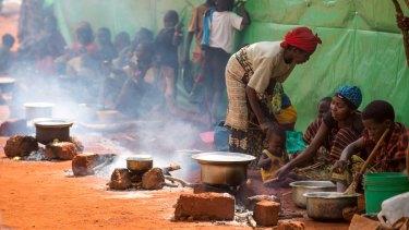 Refugees at the Nyarugusu camp in western Tanzania.