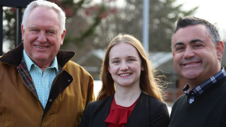 Yvette Quinn, the 21-year-old Nationals candidate for Orange, with Deputy Premier John Barilaro (right).
