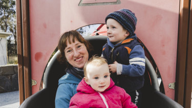 Boundless Playground has been titled Canberra's most popular playground. Trish Banyer, with her two children Elliot 2, and Josie 10-months. Photo: Jamila Toderas