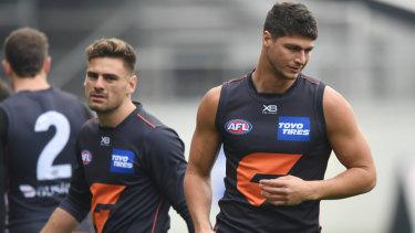 Patton (right) and GWS teammate Stephen Coniglio.