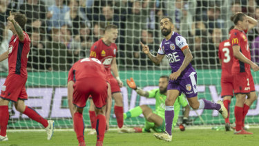 The indefatigable Diego Castro scores one of his two goals in Glory's epic semi-final win against Adelaide.