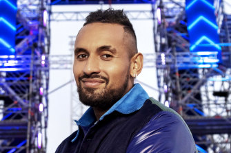 Nick Kyrgios on the set of Australian Ninja Warrior, where he will act as a sideline commentator.
