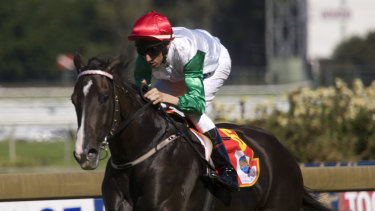 Be like mum: Amelia's Dream, with Nash Rawiller in the saddle, wins the Silver Slipper.