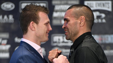 Anthony Mundine and Jeff Horn face off.