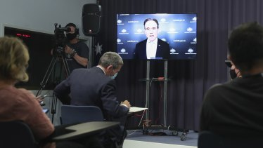 Federal Health Minister Greg Hunt at a press conference.