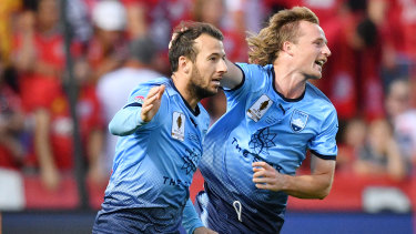 Fearless: Sydney FC striker Adam Le Fondre, left, says Thursday's win over Perth proves his side are a title threat in the finals series.