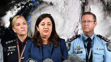 Fire and Emergency Services Commissioner Katarina Carroll (left), Premier Annastacia Palaszczuk (centre) and Police Deputy Commissioner Bob Gee (right) at Disaster Management Committee meeting on Tuesday.