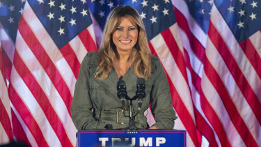 First lady Melania Trump speaks at her first solo campaign rally.