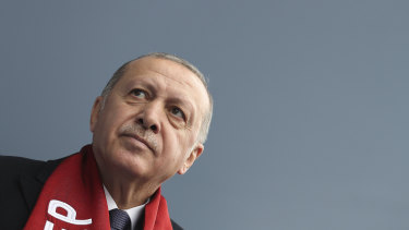 Turkey's President Recep Tayyip Erdogan delivers a speech at an election rally.