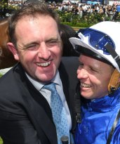 Winning combination: Charlie Appleby and Kerrin McEVoy will be looking to take the All Aged Stakes with D'Bai at Radnwick on Saturday